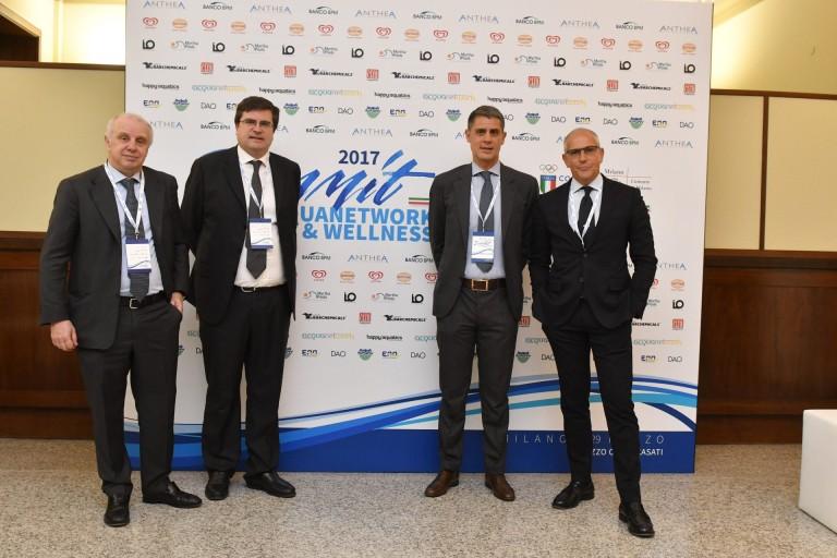 da sx. Claudio De Conto (AD Artsana) - Andrea Battista (AD Eurovita) - F. Rampazzo e Virgilio Suraci (Vicepresidente RTL 102,5)